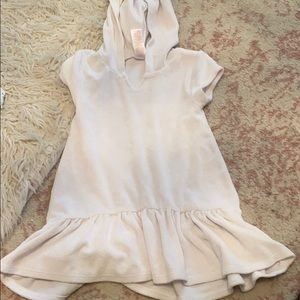 White terry cloth toddler dress coverup